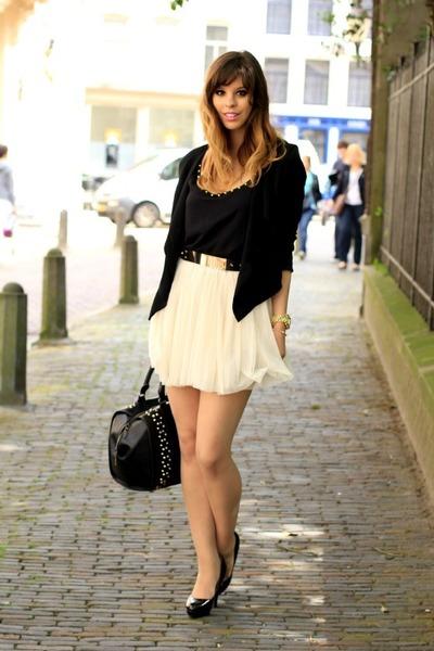 light pink tulle Bershka skirt - black studded Zara top - black asos belt