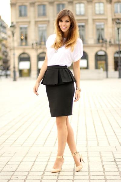 black Mango skirt - white Zara shirt - light pink Zara heels