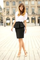 black Mango skirt - white Zara shirt - light pink Zara heels