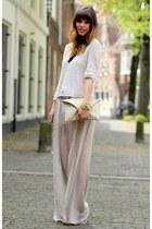 eggshell chiffon Zara pants - cream knitted H&M sweater