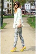 suede Topshop heels - Zara blazer - studded Zara bag - snakeskin Zara pants
