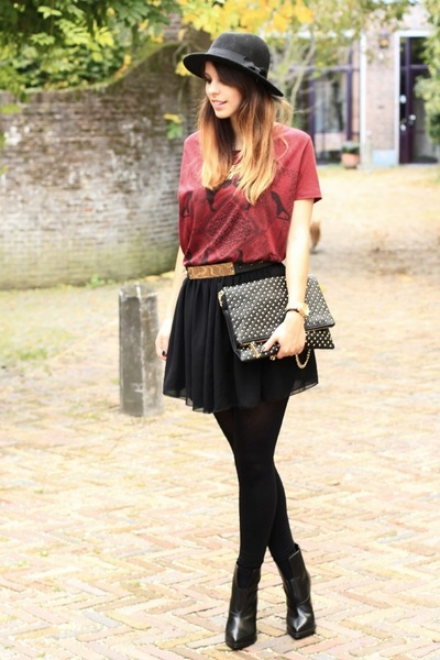 black American Apparel skirt - brick red Zara shirt - black studded Zara bag