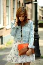 light blue denim H&M jacket - carrot orange clutch Zara bag - periwinkle River I