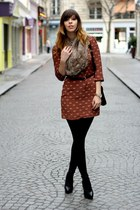 tawny silk ted baker dress - brown new look scarf - black leather Zara heels