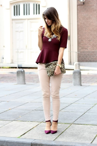 ruby red H&M top - neutral Zara pants - maroon Zara heels
