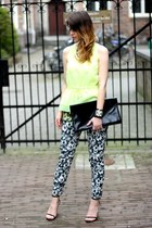 yellow H&M Trend top - black vintage bag - black H&M Trend pants
