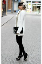 white Stradivarius cardigan - gold Stradivarius dress