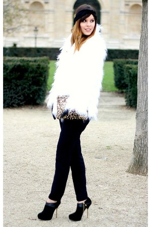 white faux fur Stradivarius coat - gold sequined Zara bag - black Zara heels