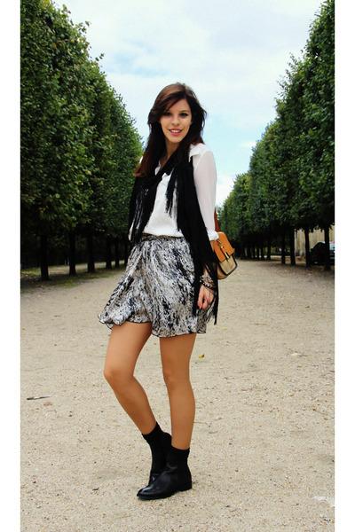 black leather COS boots - black H&M scarf - camel Chloe bag - white Zara blouse