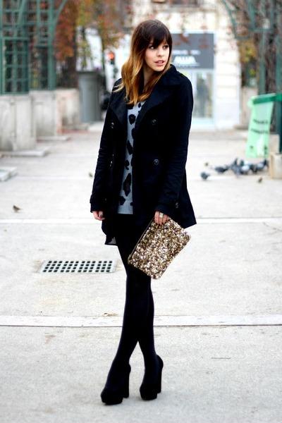 gold sequinned Zara bag - black chiffon etam dress - black Stradivarius coat