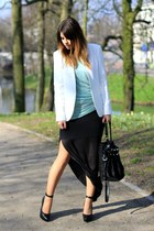 white Zara blazer - light blue Zara shirt - black Alexander Wang bag