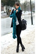 fake fur asos scarf - Zara blazer - surface to air heels