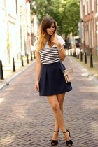 striped Zara shirt - Mango skirt - studded Zara heels