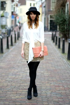 nude embellished Zara skirt - light orange Primark bag - black asos heels