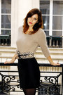 Beige-angora-acne-sweater-black-zara-skirt