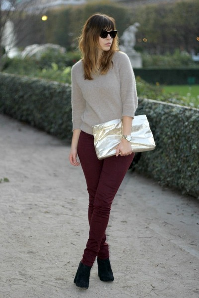 Brick-red-the-kooples-jeans-beige-angora-acne-