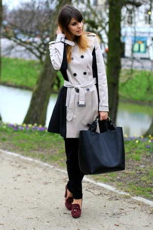 beige Topshop coat - black Zara bag - ruby red asos heels