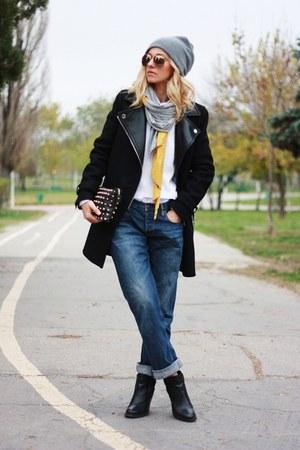 black Zara coat - black Topshop boots - navy allsaints jeans