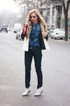 blue Zara shirt - white Zara boots - navy Marc Jacobs jeans - beige H&M jacket