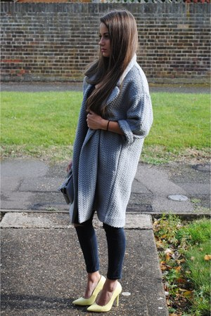 asos coat - Topshop jeans - asos pieces bag - Office heels - new look top