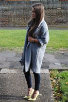 coat, lemon high heels, jeans, top, bag