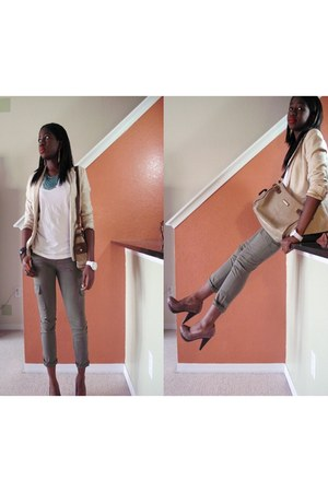 beige banana republic blazer - army green Zara pants - brown Zara heels