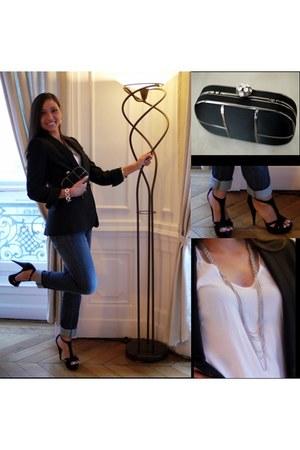 Mango jeans - Zara blazer - manoukian shirt - Tie Rack purse - Zara heels