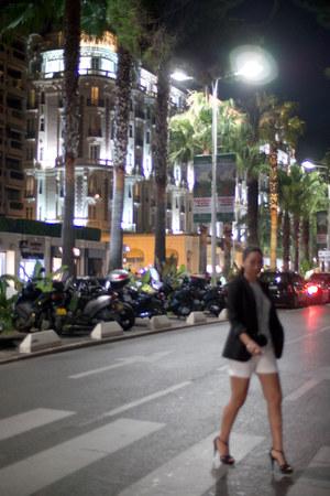 black Zara blazer - white Mango shorts - black Zara heels