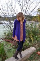 purple Wet Seal cardigan - orange Thrifted 70s shirt shirt - brown JC Penneys bo