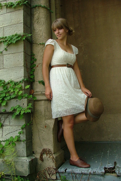 white Charlotte Russe dress - brown Target shoes - brown thrifted belt - brown J