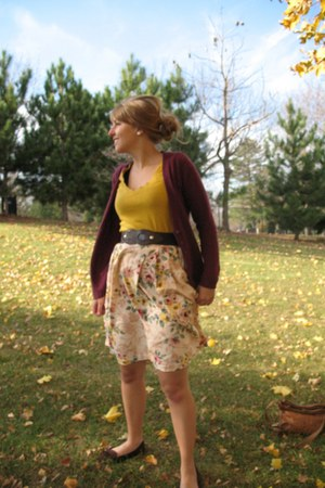 maroon thrifted vintage cardigan - mustard Vanity shirt - dark brown belt - nude