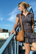 blue unknown brand dress - brown bag - brown Target shoes