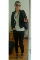black Bershka blazer - white Urban Republic t-shirt - black Mango pants - gray M