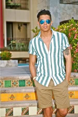 teal stripes American Apparel shirt - tan khaki banana republic shorts