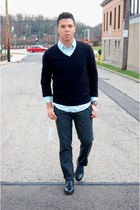 black Bally shoes - black cashmere Armani Exchange sweater