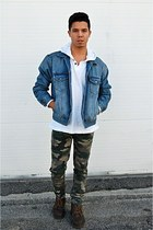 denim Topman jacket - leather Dr Martens boots - camo Urban Outfitters jeans