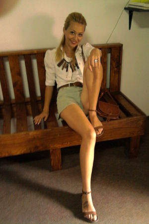 white shirt - green Only shorts - brown accessories - brown belt