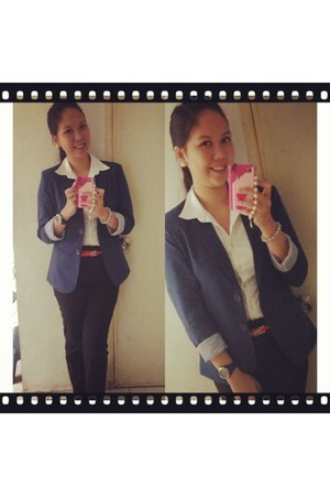 white Forever 21 blouse - blue blued top classic blazer - blue timex watch