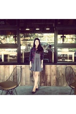 dark gray stripes dress - maroon tartan jacket