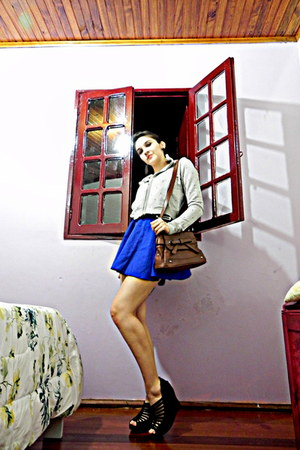blue skirt - brown bag - silver hoodie - black wedges