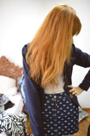 heart printed skirt - dark blue Julita Maria blazer - income shirt