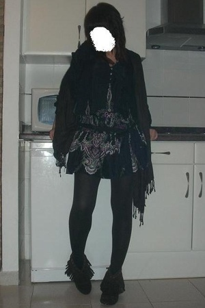 boots - dress - scarf