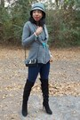 Black-over-the-knee-target-boots-charcoal-gray-cloche-claires-hat