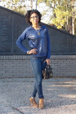navy sequined Old Navy sweatshirt - tawny wedge x-appeal boots