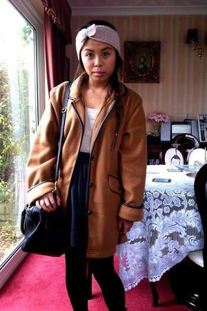 tawny charity shop coat - beige Gap top - dark gray American Apparel skirt