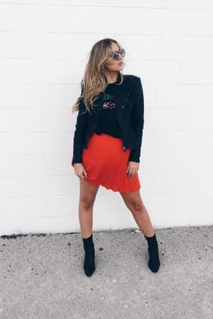 orange pleated skirt H&M skirt