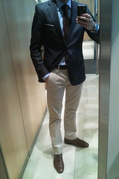 1ff07293 Men's Navy Zara Blazers, Sky Blue Zara Shirts, Beige Chinos Zara ...