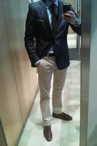 navy Zara blazer - sky blue Zara shirt - beige chinos Zara pants