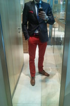 tawny Zara shoes - navy Zara blazer - red Zara pants