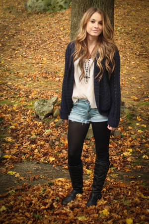 boots - sweater - shorts - top